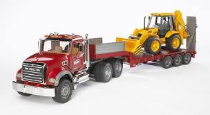 100 Bruder Logging Truck Mack Granite Flatbed Trailer With JCB 4CX Backhoe