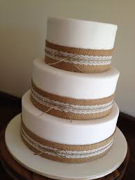 Wedding Cake With Hessian And Lace