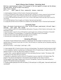 Work Energy Word Problems Calculating Power