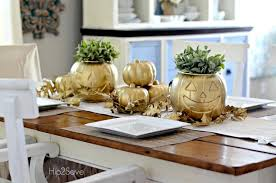 These Pumpkins With Some Gold Spray Paint And Pretty Greenery Will Add A Personalized Touch To Your Dining Room Decor