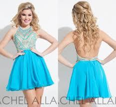 rachel allan sky blue short prom dresses beaded gowns halter neck