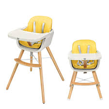 BABY JOY Convertible High Chair, Wooden 3 In 1 Multi-Functional Highchair  With Adjustable Legs, 5-Point Seat Belt, PU Cushion, Adjustable Tray And ...
