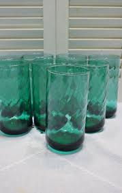Vintage Teal Green Glass Tumbler Set Of 8 Drinking By PanchosPorch