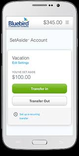 SetAside funds for future use with Bluebird