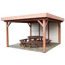 bac a avec toit tonnelle à toit plat 15 86m en sapin et couverture bac acier ombra