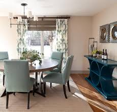 Dining Room With A Blue Modern Dresser