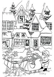 Printable Colouring Pages Santa Claus Color Pictures Coloring Page Houses Full Size