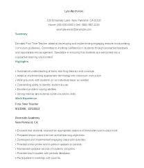 Examples Of Resume For Teachers Sample Substitute Teacher Adjunct Faculty