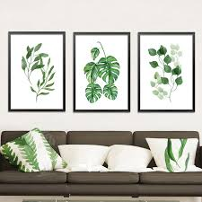 Canvas Wall Art For Dining Room by Online Shop Modern Simple Green Plant Leaves Paintings On Canvas