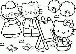 Hello Kitty Painting Her Parents Coloring Page