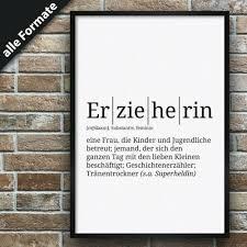 definition erzieherinpremium spruch poster wohnung deko