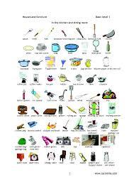 chambre liste ustensiles de cuisine de la maison en anglais liste