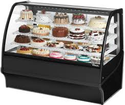 True TDM R 59 GE B W Refrigerated Bakery Display Case Front Open Curved Glass