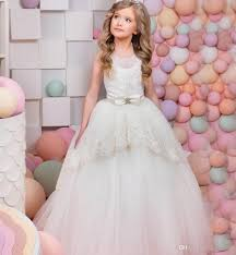 white graduation dress kids bow lace hem long ball gown little