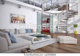 3d moderne loft mit galerie 3d rendering des modernen