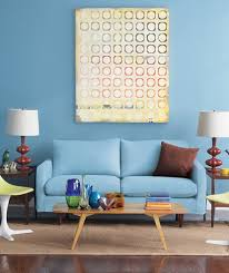Blue Living Room With Yellow Chairs And Sofa