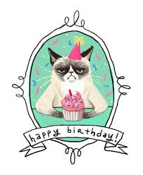 Cat Birthday Card Rectangle Potrait White Green Cat With Cupcake Picture Happy Birthday Drawing Grumpy Cat Pinterest Collection