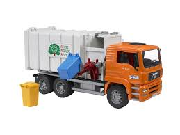 100 Bruder Trucks Toys Man Side Loading Garbage Truck Orange 675930027610 EBay