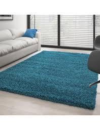 hochflor langflor wohnzimmer shaggy teppich florhöhe 3cm unifarbe türkis
