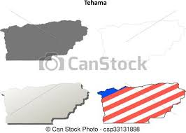 Tehama County California Outline Map Set