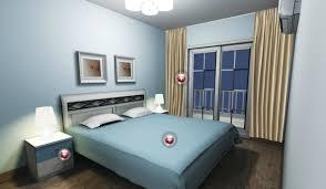 Light Blue Walls White Lighting In Bedroom