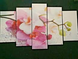 details zu wandbild 5 teilig holzfaser dekoration wohnzimmer orchidee restposten retoure