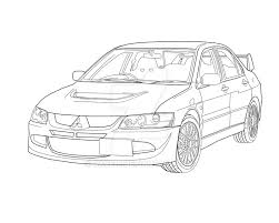 Mitsubishi Evo 8 Line Drawing By Dave D