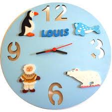 horloge chambre bébé décoration chambre bébé banquise lettre bois