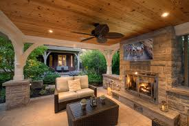 Outdoor covered patio patio transitional with white seat cushions