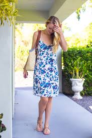 blue floral dress casual resort wear style by joules