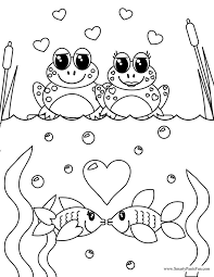 Frog And Fish Couples Valentine Day Coloring Page
