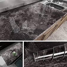 livelynine klebefolie marmor folie schwarz selbstklebende folie für möbel küchenarbeitsplatte laptop fensterbank folie arbeitsplatte küche tisch
