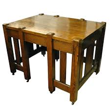 Stickley Style Furniture Antique Mission Oak Arts Crafts Library Table Desk Era