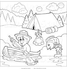 Outlined Scout Boy Boating Past A Campground