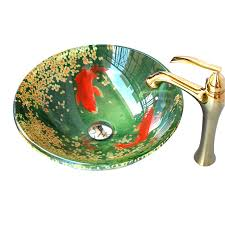 Drop In Bathroom Sink Bowls by Green Flower And Fish Drop In Overmount Glass Bowl Sinks For Bathroom