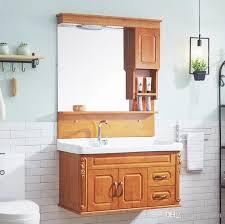 großhandel badmöbel europäische 90cm eiche badezimmerschrank kombiniertes badezimmer waschbecken waschtisch holz sanitärschrank jennet 243 19
