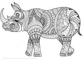 Click To See Printable Version Of Zentangle Rhino Coloring Page