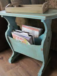 Vintage End Table With Lamp Attached by Painted Vintage Side Table With Magazine Rack Storage In Home