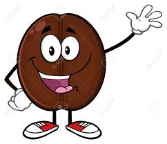 Happy Coffee Bean Cartoon Mascot Character Waving Stock Photo
