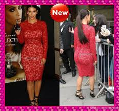 kim kardashian red lace long sleeve evening dresses under 130