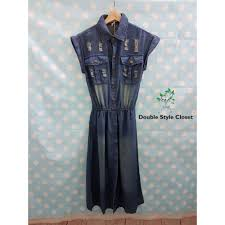 denim maxi dress with belt s 4xl