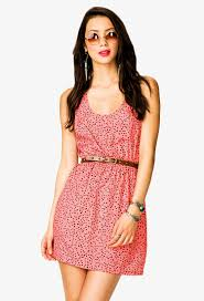 forever 21 ditsy triangle racerback dress in pink lyst
