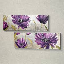 For My City Bedroom Purple Allure Floral Canvas Wall Art Set