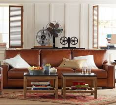 turner square arm leather sleeper sofa pottery barn