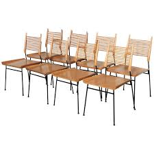 8 Person Outdoor Table by Paul Mccobb Set Of Eight Original Shovel Chairs In Maple And Black