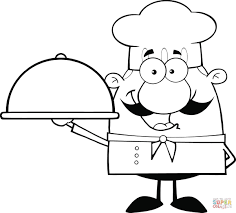Chef Holding A Platter Caricature