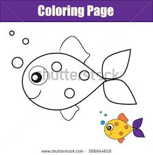 Coloring Page With Fish Color The Drawing Activity Educational Game For Pre School