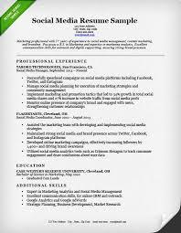Resume Example Social Media