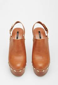 forever 21 faux leather platform clog in brown lyst
