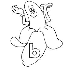 Coloring Sheet Of Peeled B For Banana Page